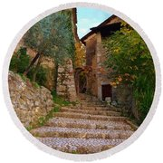 Stairs To The Village Round Beach Towel