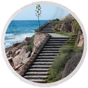 Stairway And Agave On Top. Round Beach Towel