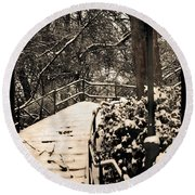 Stairway In Central Park On A Stormy Day Round Beach Towel