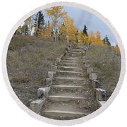 Stairway To Autumn Round Beach Towel