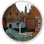 Stairway To Enkhuizen From The Dike-netherlands Round Beach Towel