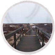 Stairway To The Atlantic Round Beach Towel
