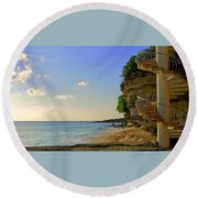 Stairway To The Sea Round Beach Towel
