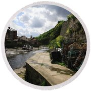 Staithes Harbour Round Beach Towel