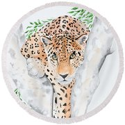 Stalker In The Trees Round Beach Towel