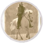 Stallion Strides Round Beach Towel