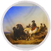 Stallions From The Governments Stud Farm Round Beach Towel