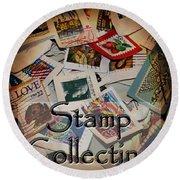 Stamp Colleting Round Beach Towel