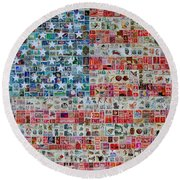 Stamps And Stripes Round Beach Towel