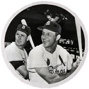 Stan Musial And Ted Williams Round Beach Towel