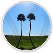 Stand By Me - Palm Tree Art By Sharon Cummings Round Beach Towel