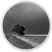 Standing All Alone Round Beach Towel