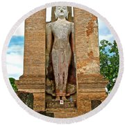 Standing Buddha At Wat Mahathat In 13th Century Sukhothai Historical Park-thailand Round Beach Towel