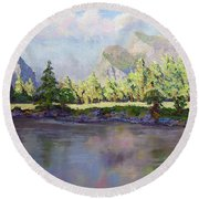 Standing Guard Over Yosemite Valley Round Beach Towel