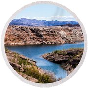 Standing In A Ravine At Lake Mead Round Beach Towel