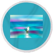 Standing Seagull Round Beach Towel