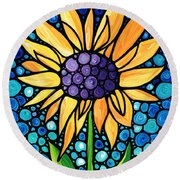 Standing Tall - Sunflower Art By Sharon Cummings Round Beach Towel