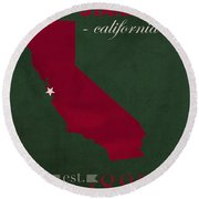 Stanford University Cardinal Stanford California College Town State Map Poster Series No 100 Round Beach Towel