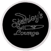 Stanley's Lounge In White Neon Round Beach Towel