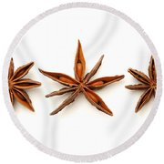 Star Anise Fruits Round Beach Towel