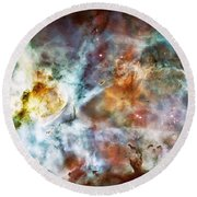 Star Birth In The Carina Nebula  Round Beach Towel by Jennifer Rondinelli Reilly - Fine Art Photography