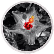 Star Bright Hibiscus Selective Coloring Digital Art Round Beach Towel