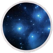 Star Cluster Pleiades Seven Sisters Round Beach Towel by Jennifer Rondinelli Reilly - Fine Art Photography