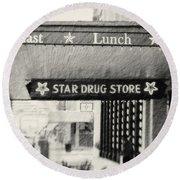 Star Drug Store Marquee Round Beach Towel