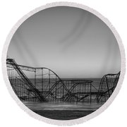Star Jet Roller Coaster Bw Round Beach Towel