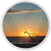 Star Jet Sunrise Silhouettte Round Beach Towel