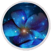 Star Light Plumeria Round Beach Towel