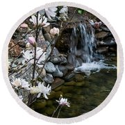 Star Magnolia And Flowing Water Round Beach Towel