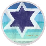 Star Of David In Blue - Thank You Card Round Beach Towel by Linda Woods