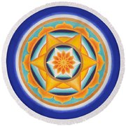 Star Of Energy Round Beach Towel