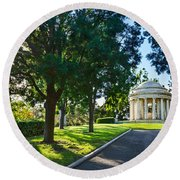 Star Over The Mausoleum - Henry And Arabella Huntington Overlooks The Gardens. Round Beach Towel