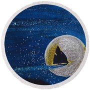 Star Sailing By Jrr Round Beach Towel by First Star Art
