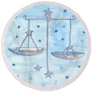 Star Sign Libra Round Beach Towel