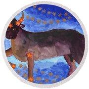 Star Sign Taurus Round Beach Towel