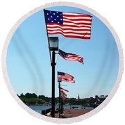 Star Spangled Banner Flags In Baltimore Round Beach Towel