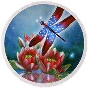 Star Spangled Dragonfly Round Beach Towel