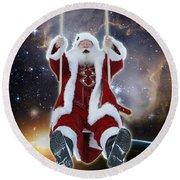 Santa's Star Swing Round Beach Towel