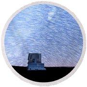 Star Trails Above Subaru Telescope Round Beach Towel