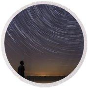 Star Trails Night Sky Landscape Vermont Lake Champlain Round Beach Towel