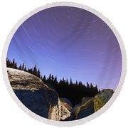 Star Trails Over Rocks In Saguenay-st Round Beach Towel