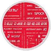 Star Trek Remembered In Red Round Beach Towel by Georgia Fowler