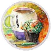 Starbucks Mug And Easter Cupcake Round Beach Towel