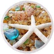 Starfish Art Prints Shells Agates Coastal Beach Round Beach Towel