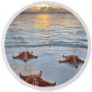 Starfish Beach Sunset Round Beach Towel