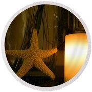 Starfish Candleglow Still Life Round Beach Towel