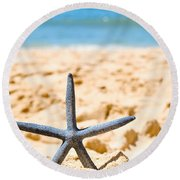 Starfish On Algarve Beach Portugal Round Beach Towel